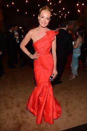 Cat Deeley looked like a masterpiece in this orange gathered fishtail gown at the post-Emmy party.