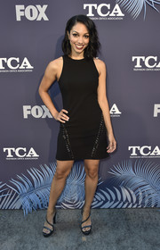 Corinne Foxx kept it simple in a sleeveless LBD by Elizabeth and James at the Fox Summer TCA 2018 All-Star Party.
