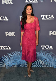 Nicole Scherzinger went ultra feminine in a fuchsia lace dress by Dolce & Gabbana at the Fox Summer TCA 2018 All-Star Party.