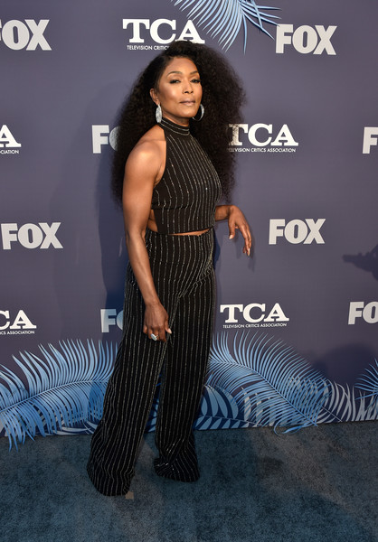 Angela Bassett rocked a black halter crop-top with silver stripes at the Fox Summer TCA 2018 All-Star Party.