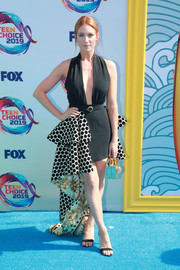 Brittany Snow rocked a black Fausto Puglisi dress with a polka-dot train at the 2019 Teen Choice Awards.