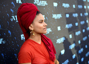Zazie Beetz punctuated her red outfit with gold dangle earrings when she attended the 'Atlanta Robbin' Season' FYC event.