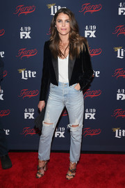 Keri Russell dressed down her jacket with a pair of distressed jeans.