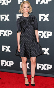 Sarah Paulson oozed laid-back elegance in a black-and-white striped mini dress by J. Mendel at the FX TCA Winter Press Tour.