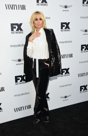 Judith Light looked groovy in a sequined pantsuit teamed with a ruffle blouse at the FX and Vanity Fair Emmy celebration.