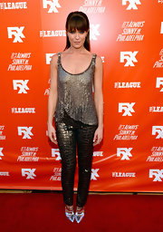 Katie Aselton glimmered from head to toe in a silver sequined top, shimmery pants, and metallic pumps at the FXX Network launch.
