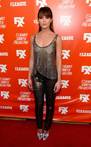 Katie Aselton shimmered in a pair of textured metallic pants and a sequined top at the FXX Network launch.