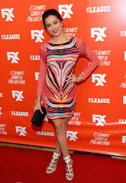 Noureen DeWulf exuded a modern vibe in a colorful print dress during the FXX Network launch.