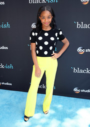Marsai Martin teamed her top with yellow slacks, also by Alice + Olivia.