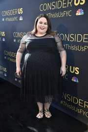 Chrissy Metz was classic in a black Swiss dot dress at the FYC event for 'This is Us.'