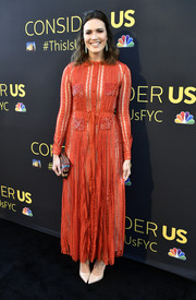 Mandy Moore looked charming in a striped red maxi shirtdress by Valentino at the FYC event for 'This is Us.'