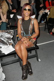Eve went to the Falguni & Shane Peacock fashion show wearing a pair of chunky brown ankle boots.