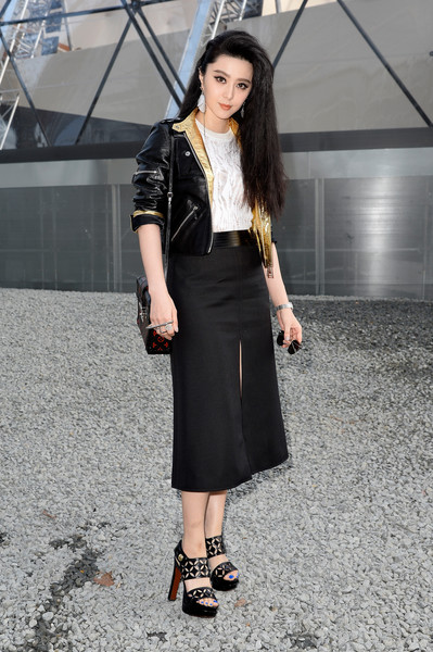 Fan Bingbing Leather Jacket [clothing,fashion model,black,street fashion,fashion,pencil skirt,shoulder,snapshot,waist,lady,outside arrivals,fan bing bing,part,paris,france,louis vuitton,paris fashion week womenswear fall]
