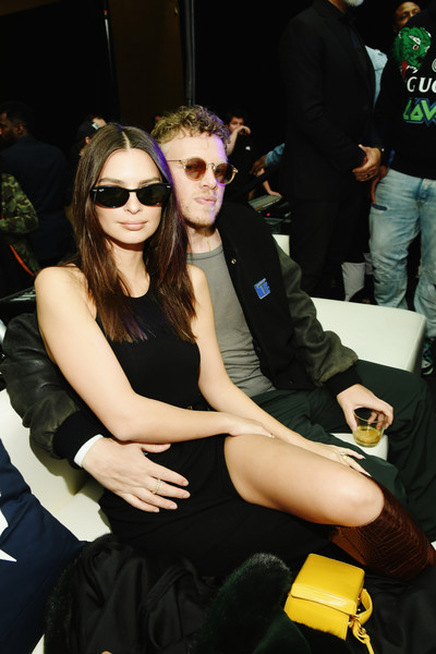 Emily Ratajkowski wore a pair of cateye shades by Ray-Ban at the Fanatics Super Bowl Party.
