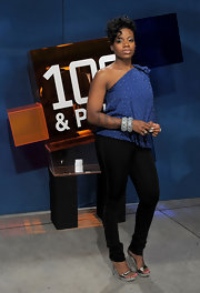 Fantasia Barrino styled her ensemble with some silver bangles at her '106 & Park' visit.