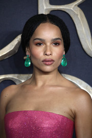 Zoe Kravitz's emerald drop earrings made a gorgeous color contrast to her pink dress.