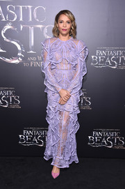 Carmen Ejogo went frilly in a sheer lavender ruffle gown by Elie Saab at the world premiere of 'Fantastic Beasts and Where to Find Them.'