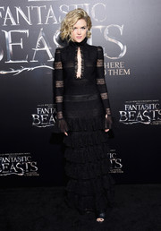 Erin Richards got all dolled up in a black Alexander McQueen gown, featuring a keyhole cutout and a ruffled skirt, for the world premiere of 'Fantastic Beasts and Where to Find Them.'