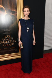 Carey Mulligan was all about simple sophistication in a navy column dress by Lanvin during the New York special screening of 'Far From the Madding Crowd.'