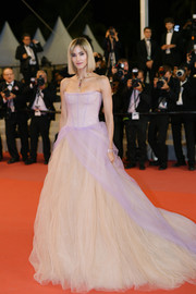 Sofia Boutella went for a princess vibe in a strapless blush corset gown by Vera Wang at the Cannes Film Festival screening of 'Fahrenheit 451.'