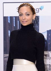 Nicole Richie topped off her look with a charming crown braid when she attended the launch of Styletag.