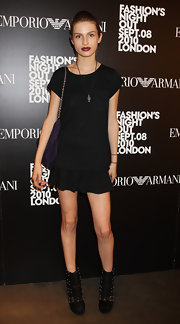 Tali Lennox showed off her long legs in a black mini dress during Fashion's Night Out in London.