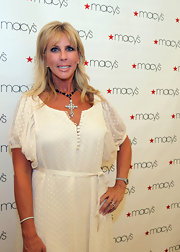 This blinged-out cross pendant brought some glitz to Vicki Gunlavson's look.