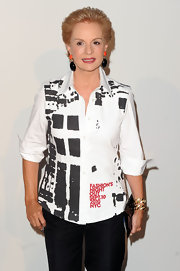 Carolina Herrera attended Fashion's Night Out wearing a black-and-white button-down and black slacks.