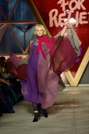 Gwendoline Christie shimmied down the Fashion for Relief runway wearing a floaty color-block maxi dress.