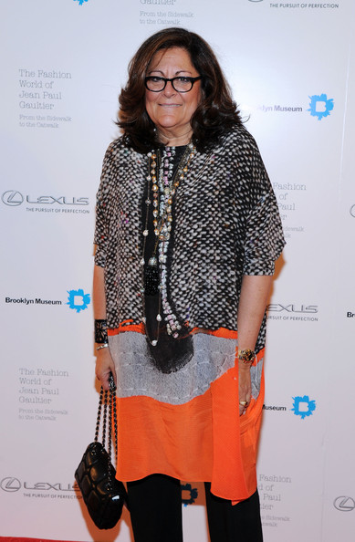 Fern Mallis attended the Fashion World of Jean Paul Gaultier reception wearing an eclectic print dress.