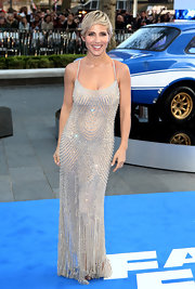 Elsa Pataky looked lovely in this silver beaded gown, which she wore to the premiere of 'Fast & Furious 6.'