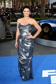 Gina Carano chose a metallic silver structured strapless dress for her cool and modern look at the premiere of 'Fast & Furious 6.'