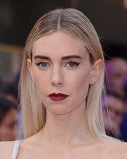Vanessa Kirby swiped on some deep red lipstick for a vampy beauty look.