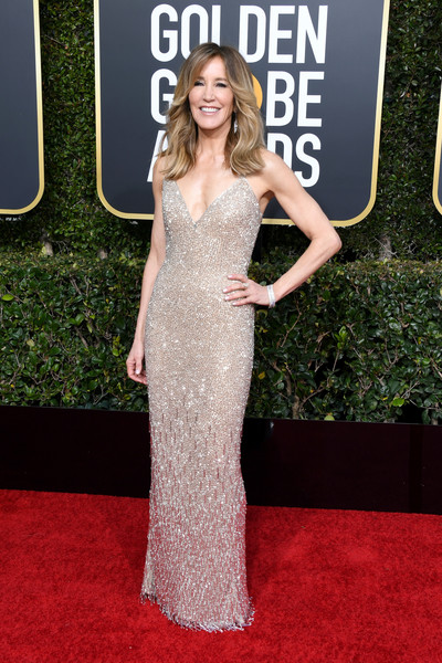 Felicity Huffman Beaded Dress [red carpet,dress,clothing,carpet,gown,flooring,fashion,shoulder,premiere,hairstyle,arrivals,felicity huffman,the beverly hilton hotel,beverly hills,california,golden globe awards]