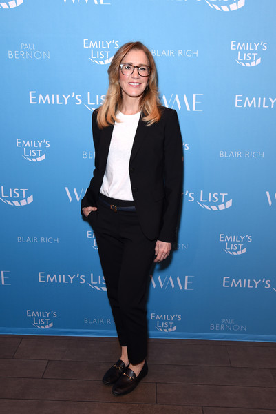 Felicity Huffman Casual Loafers [clothing,suit,pantsuit,formal wear,fashion,tuxedo,electric blue,footwear,outerwear,blazer,felicity huffman,raising our voices: supporting more women in hollywood politics,los angeles,four seasons hotel,california,beverly hills]