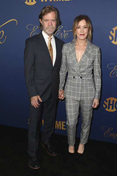 Felicity Huffman Pantsuit [suit,premiere,formal wear,pantsuit,event,tuxedo,outerwear,white-collar worker,blazer,arrivals,nominees,william h. macy,felicity huffman,los angeles,california,chateau marmont,showtime emmy eve,showtime emmy eve nominees celebration]