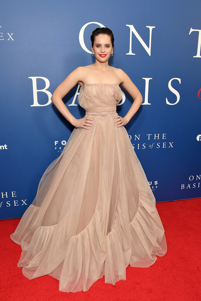 Felicity Jones Strapless Dress [on the basis of sex,dress,gown,clothing,red carpet,fashion model,carpet,shoulder,bridal party dress,strapless dress,flooring,felicity jones,screening,screening,new york city,walter reade theater]