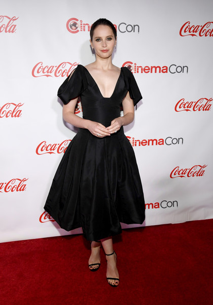 Felicity Jones Strappy Sandals [clothing,dress,red,carpet,cocktail dress,red carpet,flooring,premiere,coca-cola,event,felicity jones,cinemacon big screen achievement awards,omnia nightclub,caesars palace,las vegas,nevada,coca-cola company,cinemacon 2018,convention]