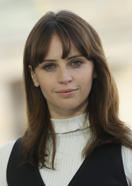 Felicity Jones Medium Wavy Cut with Bangs
