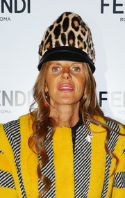 Anna dello Russo donned a leopard-patterned fur hat for the Fendi fashion show.