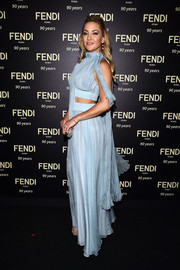 Kate Hudson looked divine in a sky-blue cutout gown by Fendi during the brand's 90th anniversary cocktail.