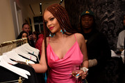 Rihanna sported a massive diamond ring at the Fenty x Webster cocktail event.