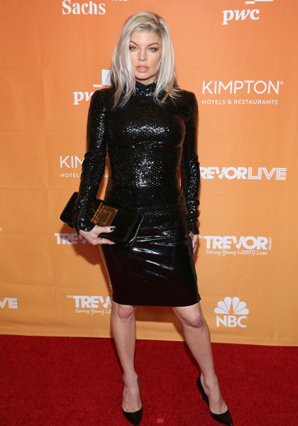 Fergie Embellished Top [trevor project,clothing,dress,carpet,red carpet,latex clothing,footwear,little black dress,cocktail dress,fashion,leg,arrivals,fergie,beverly hills,california,the beverly hilton hotel,2017 trevorlive la gala]
