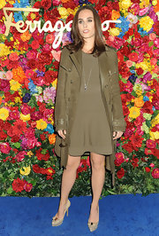 Sophie Auster chose this brown suede jacket to top off her monochromatic look.