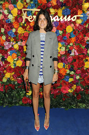 Leandra Medine chose an oversized tweed blazer to pair over a mini dress for a fun mix of styles.