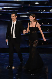Bianca Balti couldn't hide in her gorgeous transparent black Dolce & Gabbana evening gown at the closing night of Festival di Sanremo 2013.