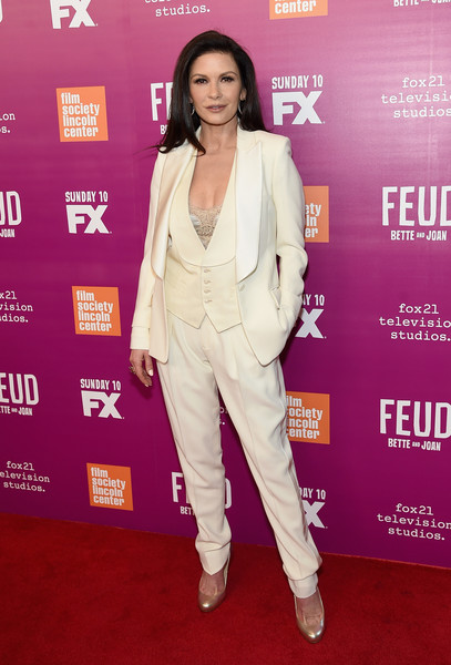 Catherine Zeta-Jones went menswear-chic in a cream-colored three-piece suit by Tom Ford at the 'Feud: Bette and Joan' NYC event.