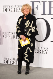 Sherrie Hewson kept warm with a long cardigan during the UK premiere of 'Fifty Shades of Grey.'