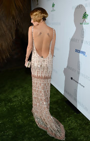 Nicole went for a 'Great Gatsby' vibe in this long backless beaded gown at the Baby2Baby Gala.