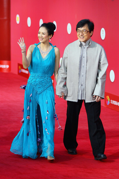 Zhang Ziyi looked perfect in a sky blue chiffon evening gown with an embroidered waist detail and darling tassels for the first International Film Festival in Beijing.